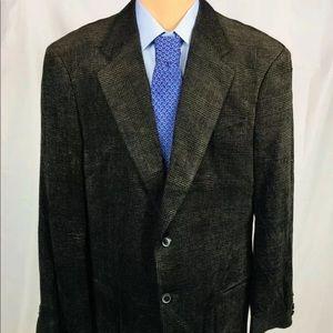 Armani Collezioni Velvet Brown Plaid 44L Blazer
